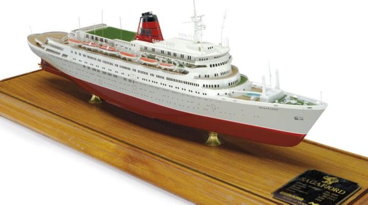 a scale model of the M.S. Saga