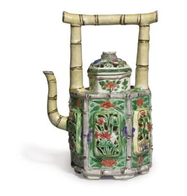A BISCUIT-GLAZED TEAPOT AND CO