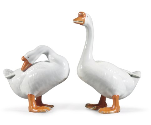 A LARGE PAIR OF GEESE