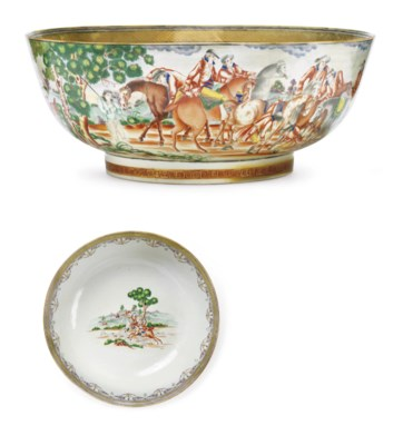 A LARGE FOXHUNTING PUNCHBOWL