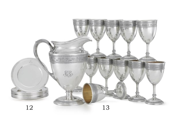 A SILVER WATER PITCHER AND A S