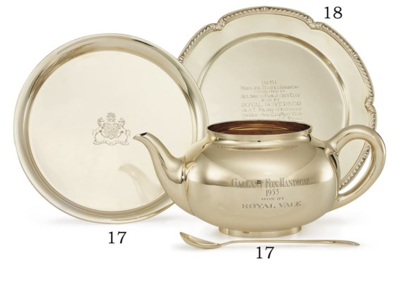A GOLD TROPHY PUNCH POT, STAND
