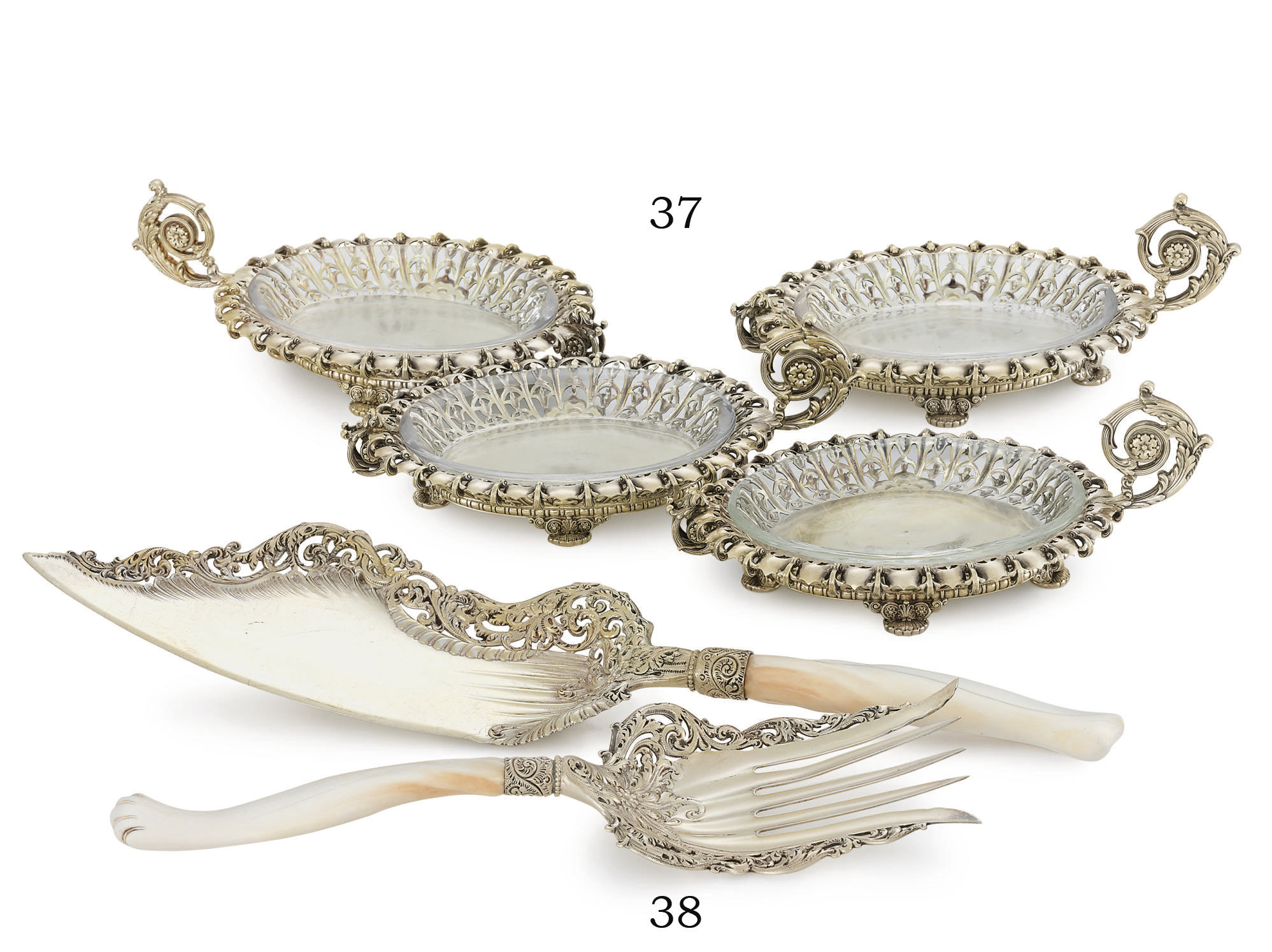 A SET OF FOUR SILVER-GILT SWEE