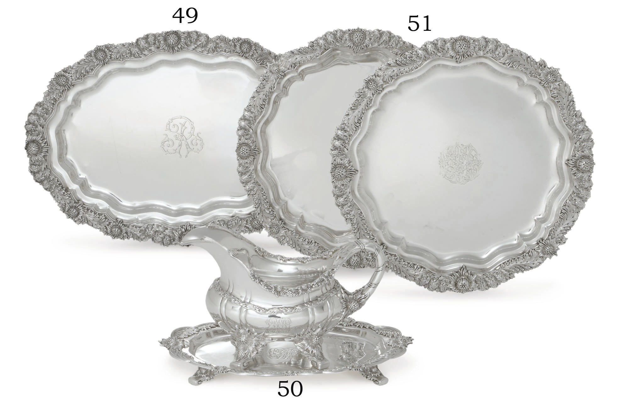 A PAIR OF SILVER SALVERS
