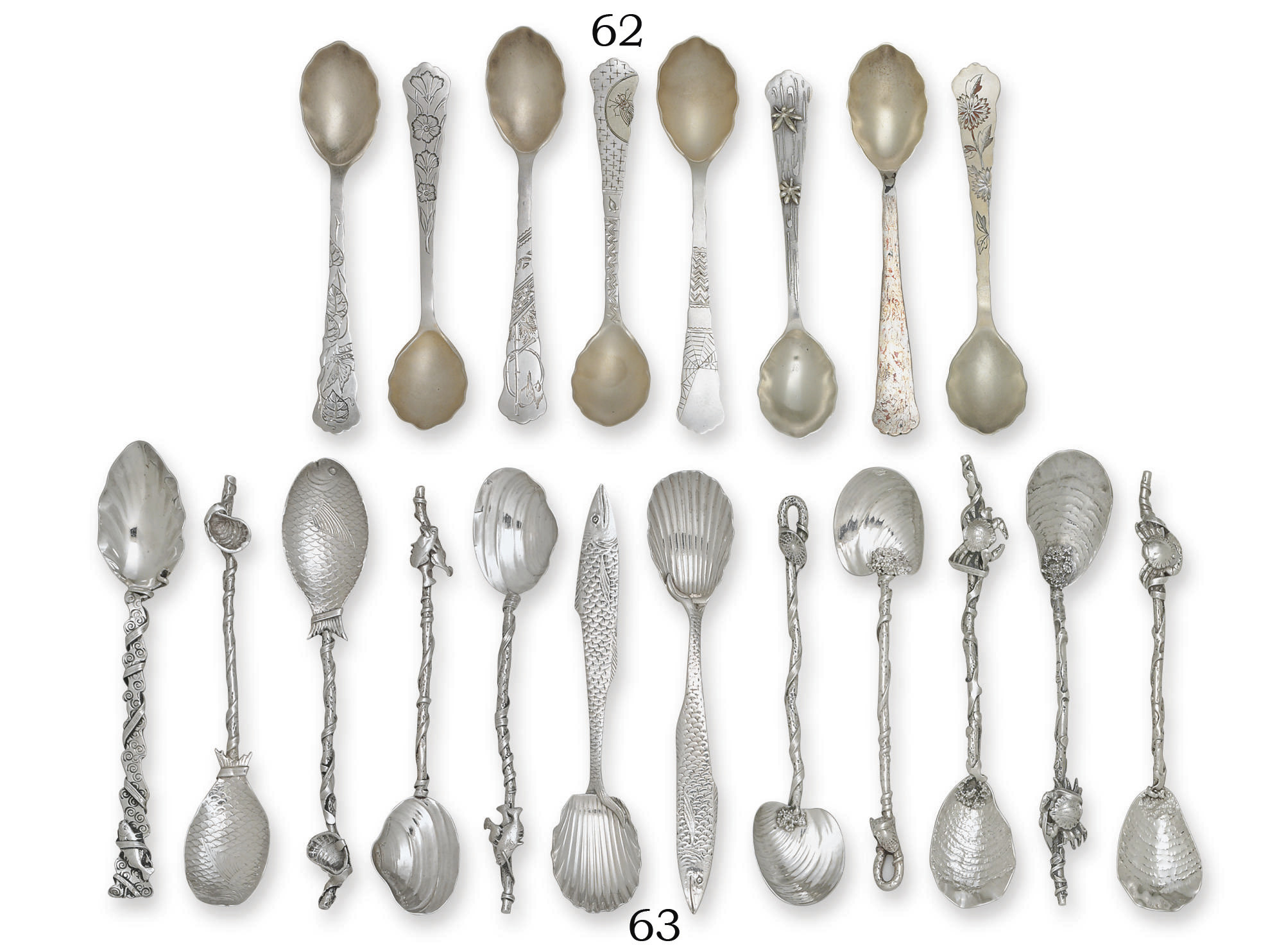 A GROUP OF EIGHT PARCEL-GILT S