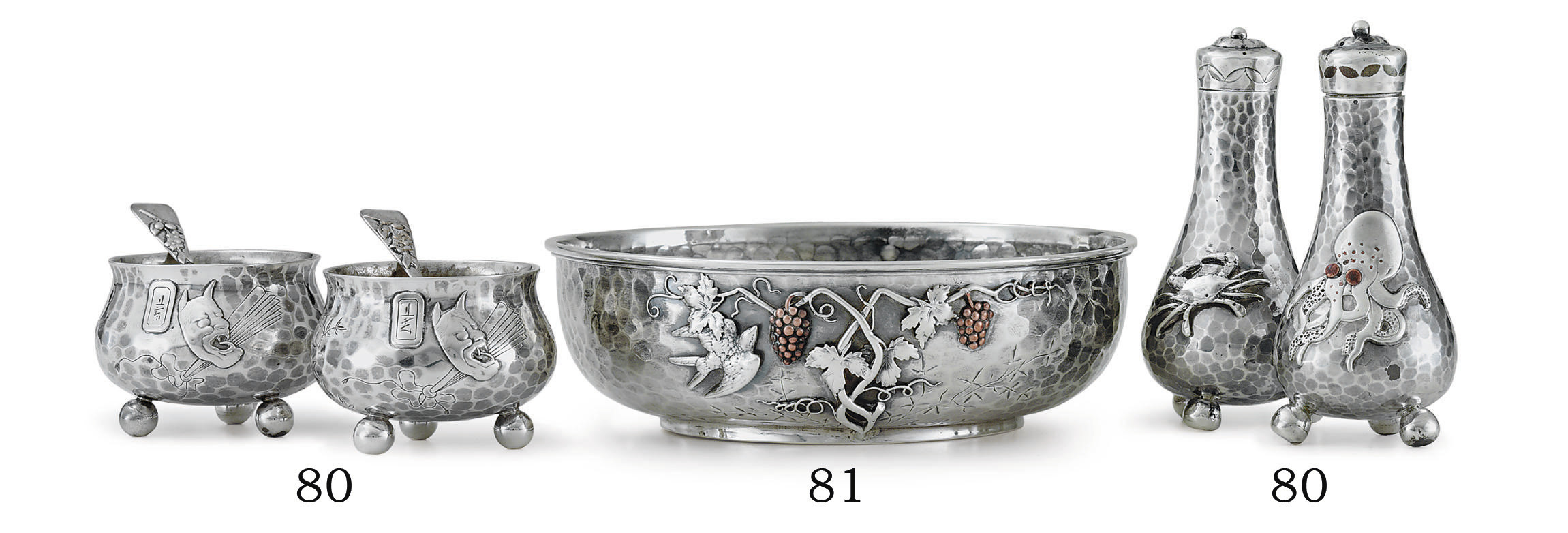 A PAIR OF SILVER AND MIXED-METAL PEPPER CASTERS, SALT CELLARS AND SPOONS