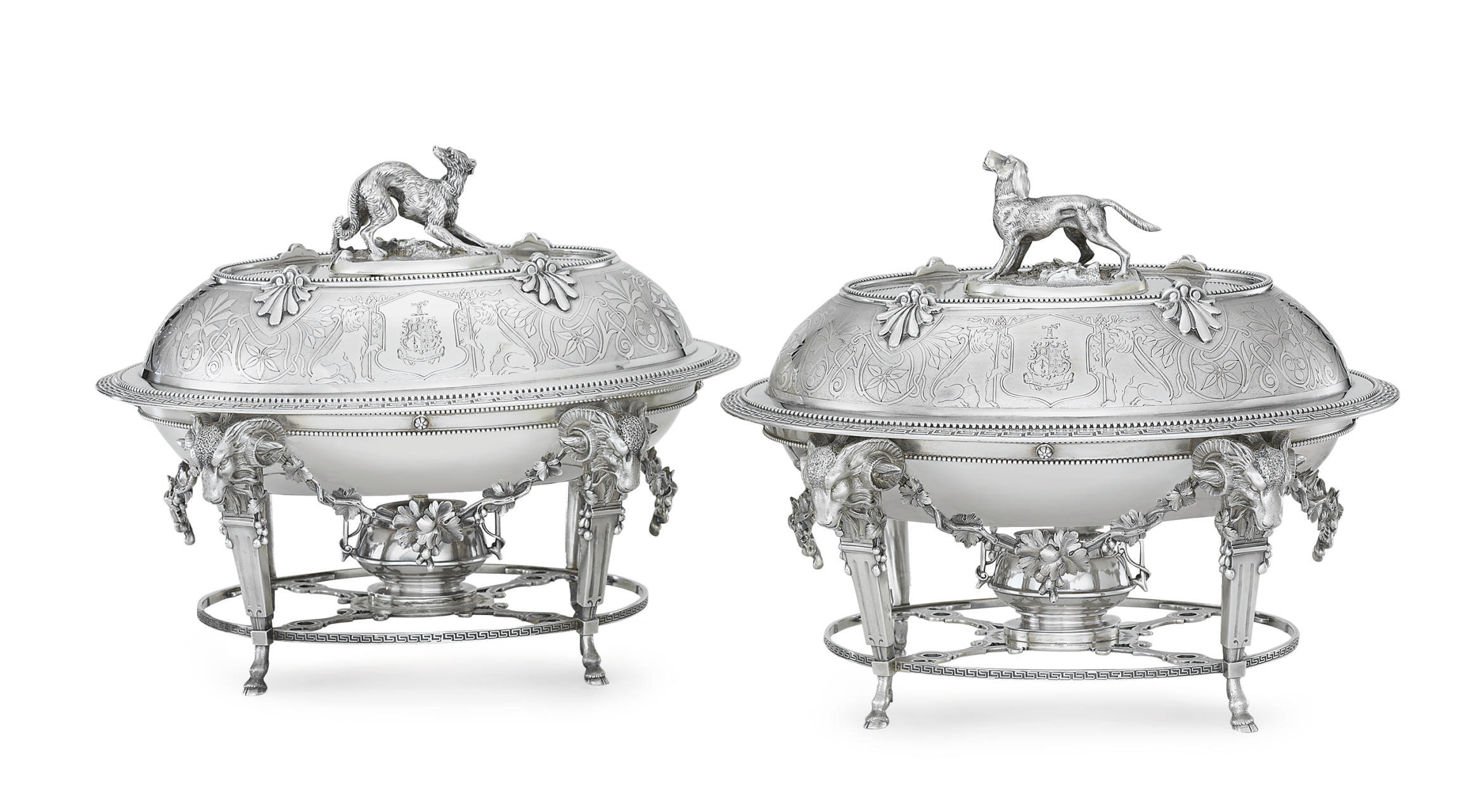 A PAIR OF SILVER ENTREE DISHES