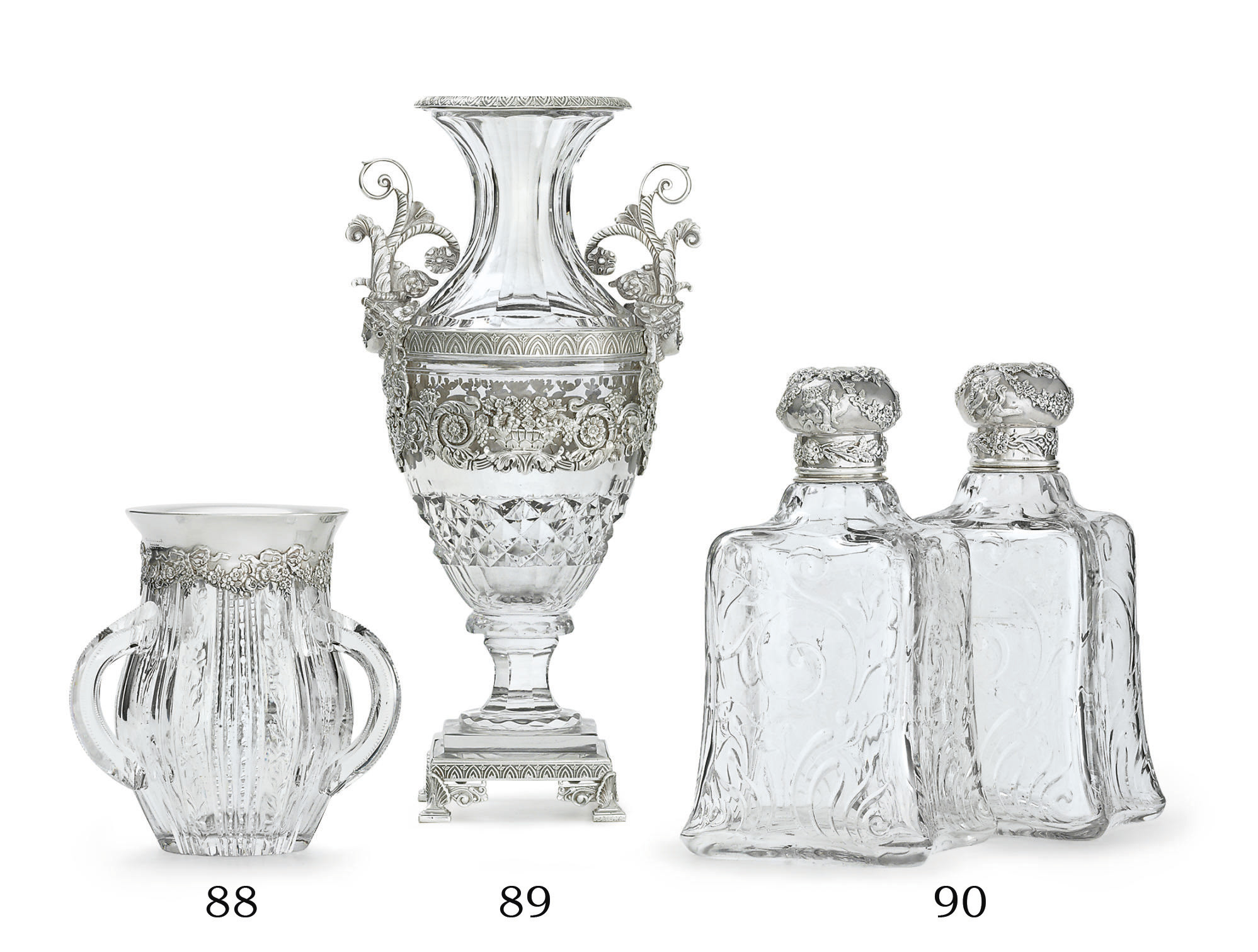 A SILVER-MOUNTED CUT-GLASS VAS