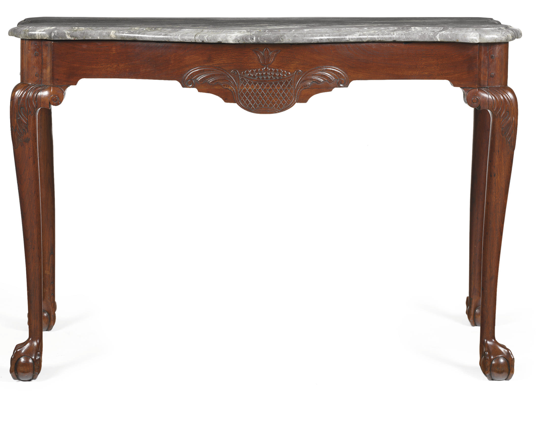 A Chippendale Walnut Marble-To