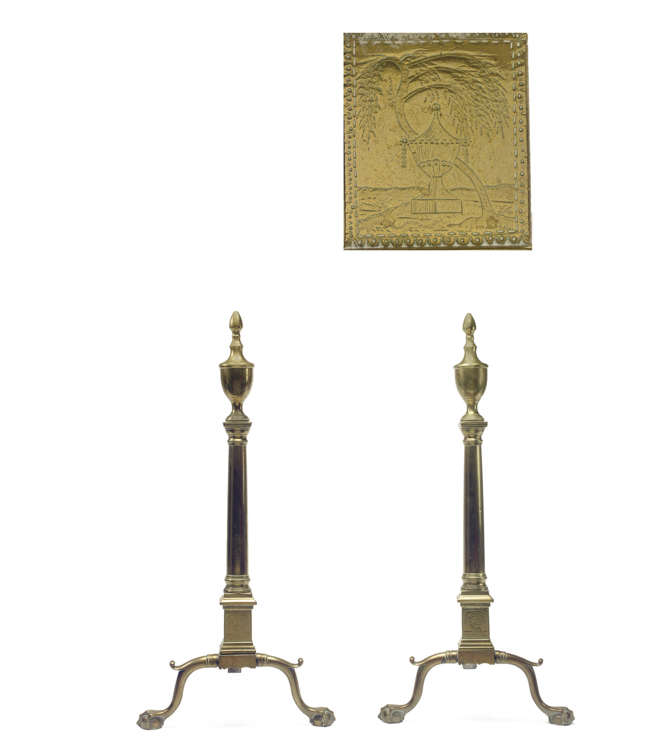 A Pair of Chippendale Brass An