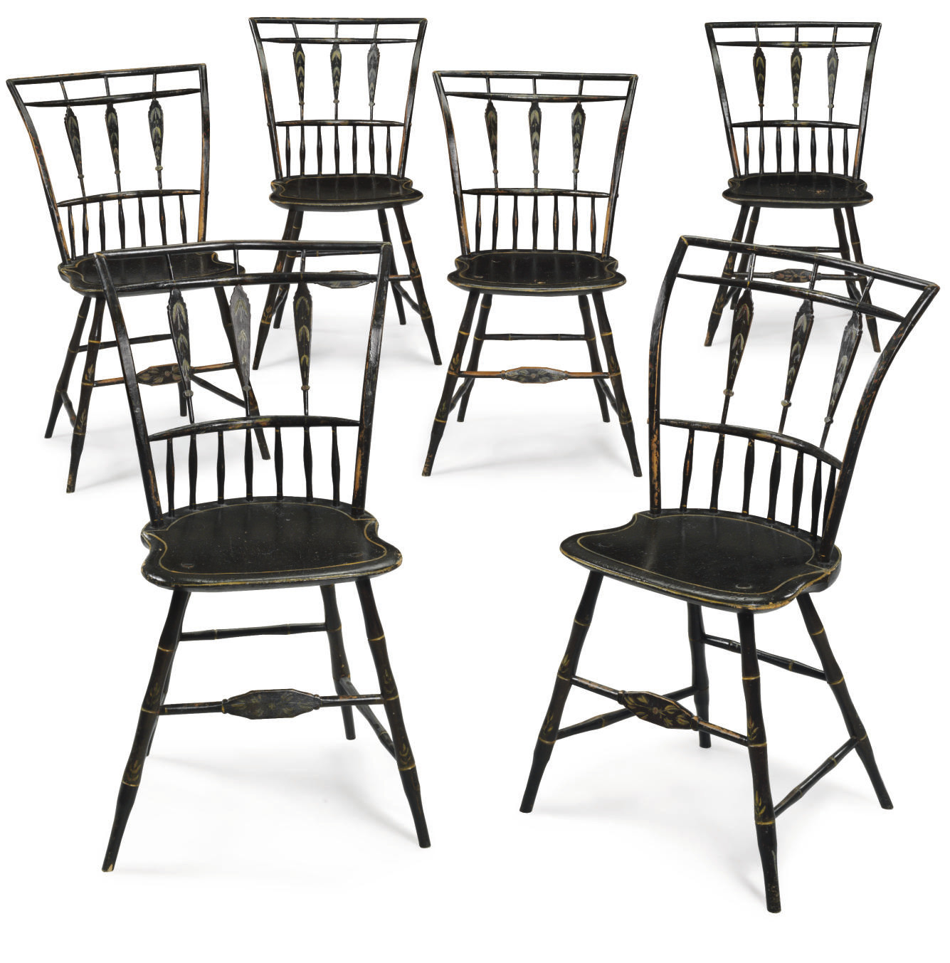 A Set of Six Black-Painted Win