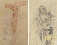 The Crucifixion (recto); Study of a male figure, half-length and a subsidiary study of his arm (verso)