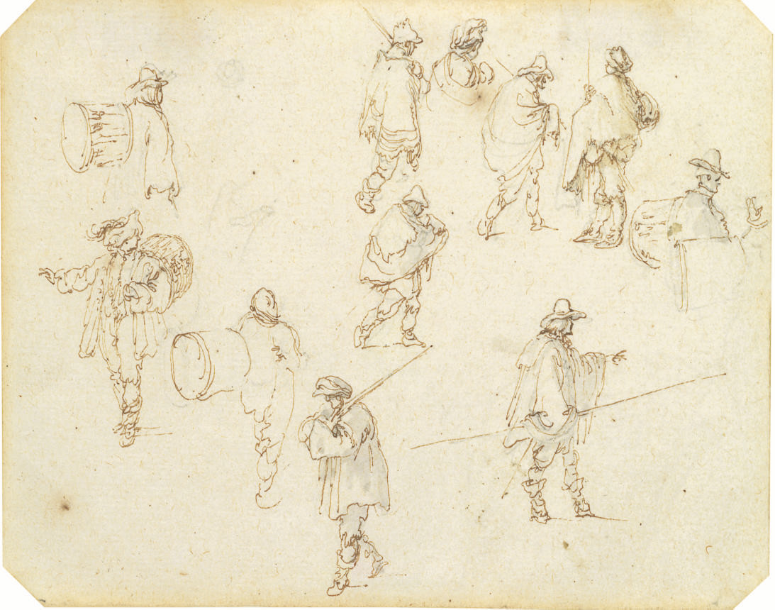 Studies of drummers, peasants and soldiers with swords and lances