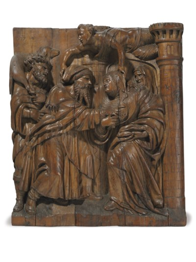 A monumental carved pine relief of joachim and anna at the