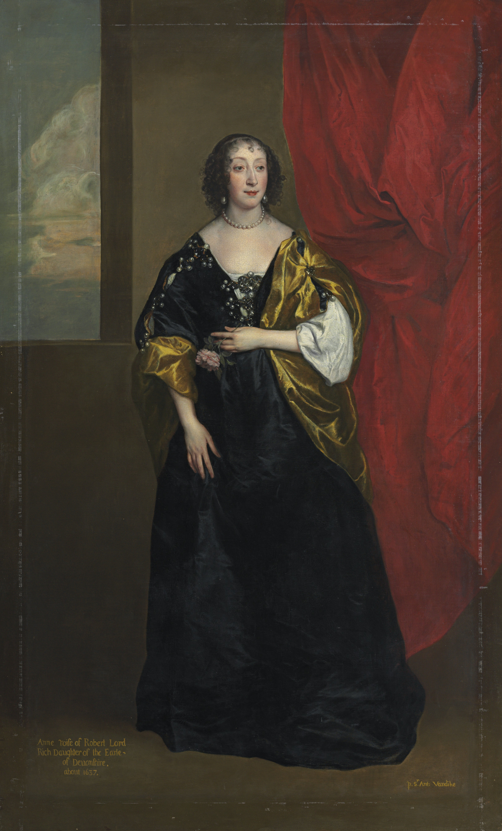 Portrait of Anne Cavendish, Lady Rich (1612-1638), full-length, in a black dress with yellow slashed sleeves, a yellow stole, and a pearl necklace and earrings, holding a rose, by a red draped curtain