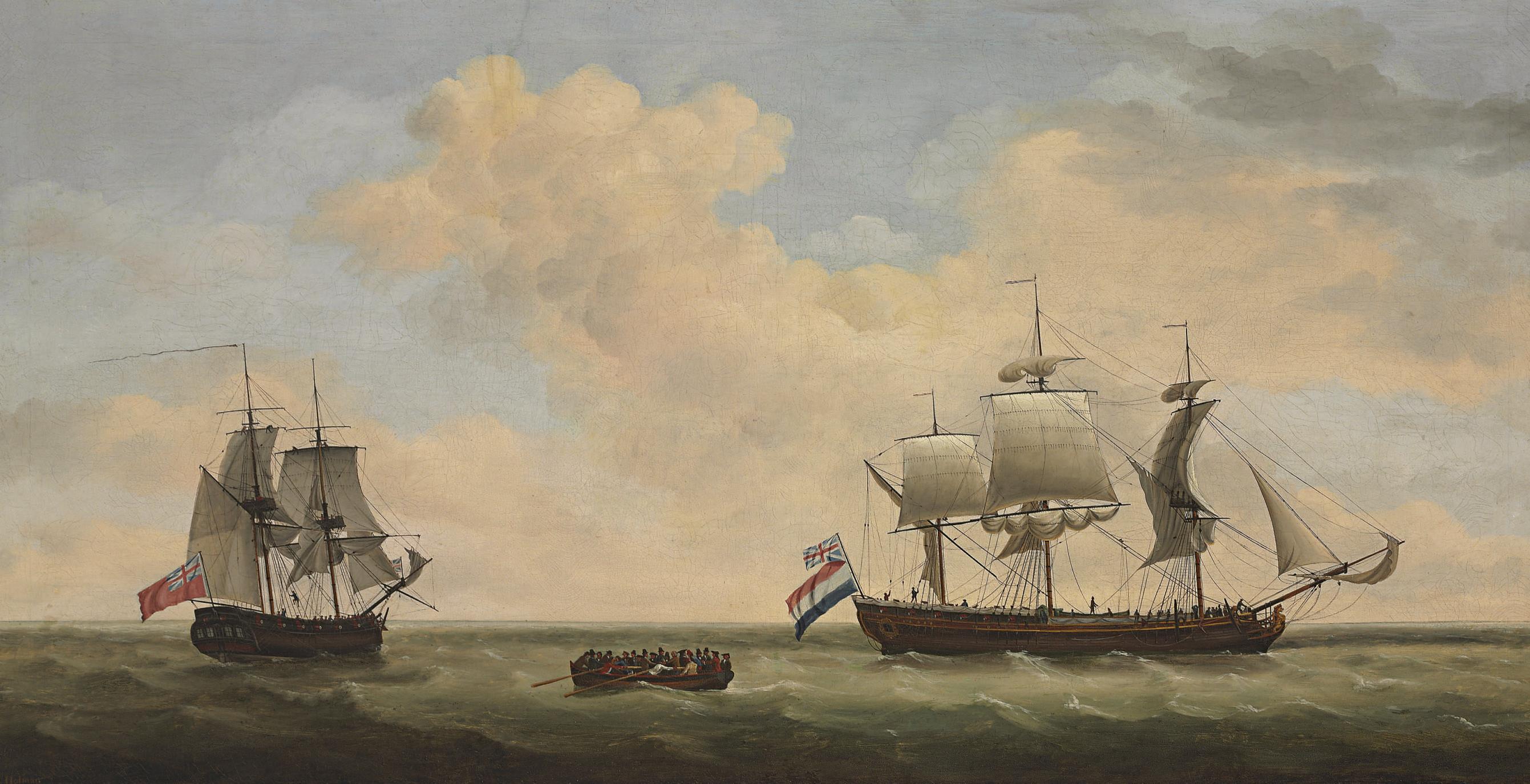 A Royal Navy 14-gun brig accepting the surrender of a Dutch East Indiaman