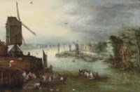 A river landscape with a ferry crossing near a windmill, a village beyond