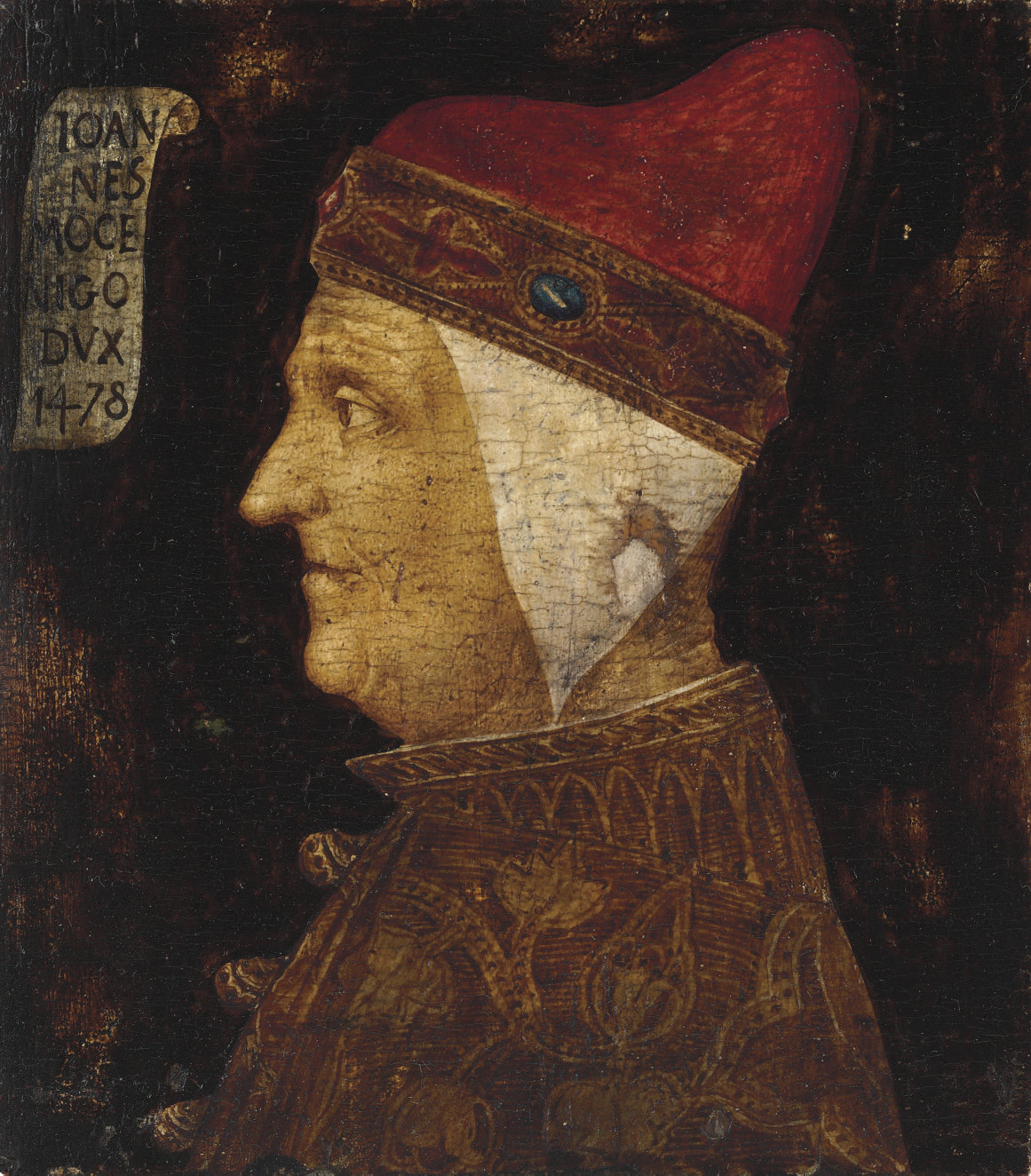 Portrait of a Doge, identified as Giovanni Mocenigo (Venice 1409-1485), bust-length, in profile