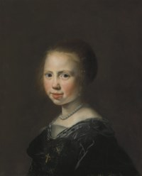 Portrait of a young girl, bust-length, in a black dress and pearl necklace