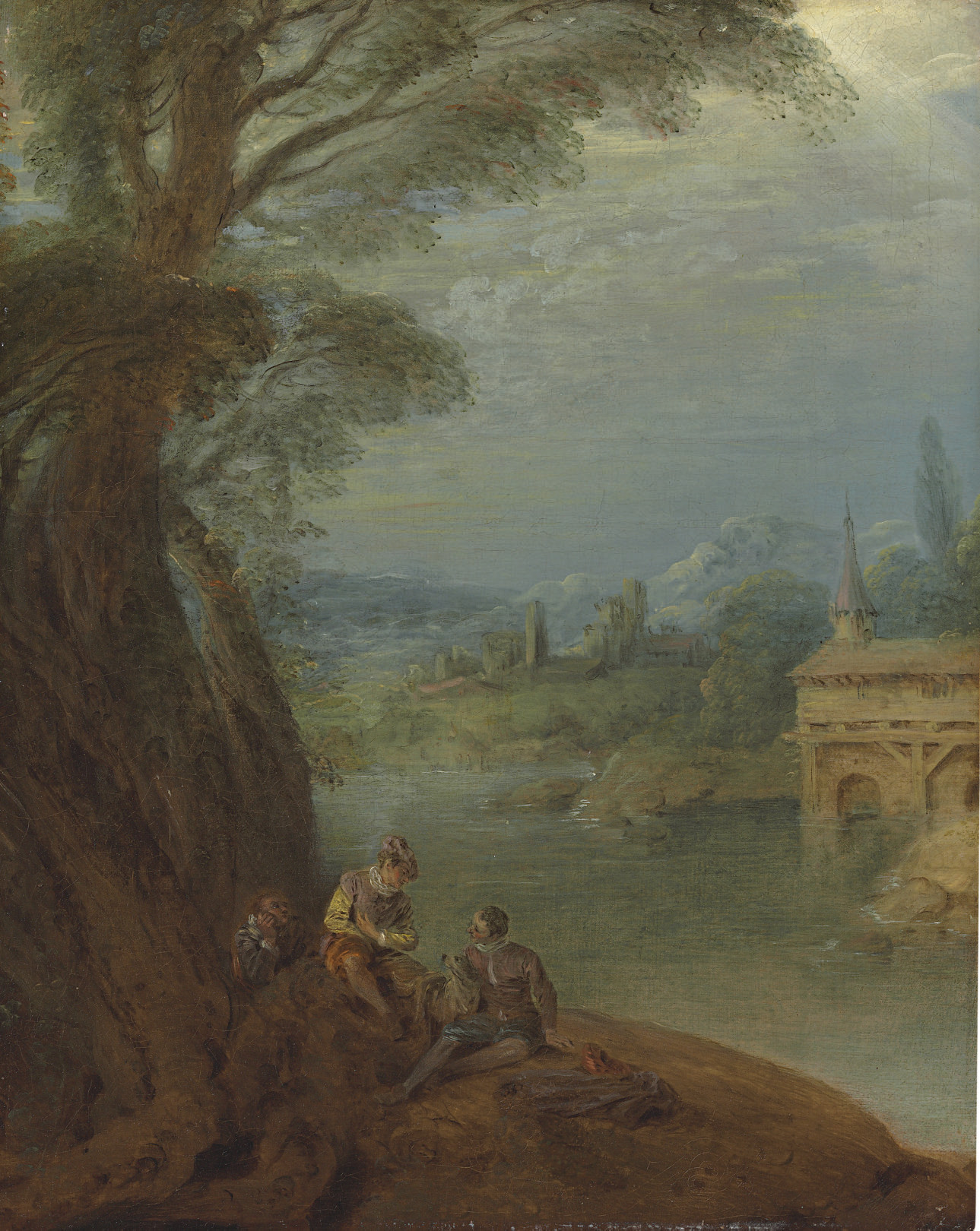 Elegant figures conversing by a riverbank