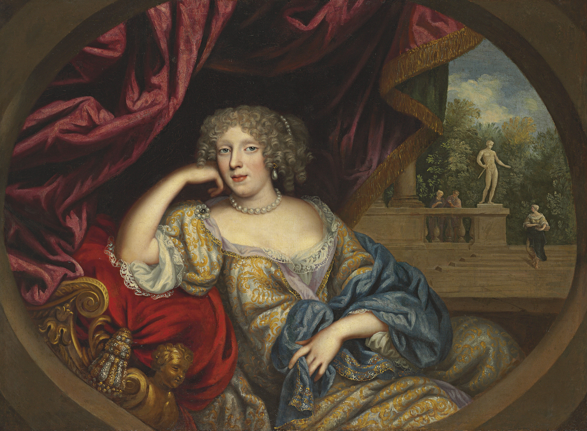 Portrait of a lady, seated three-quarter-length, in a white and gold gown with a blue robe, a garden beyond