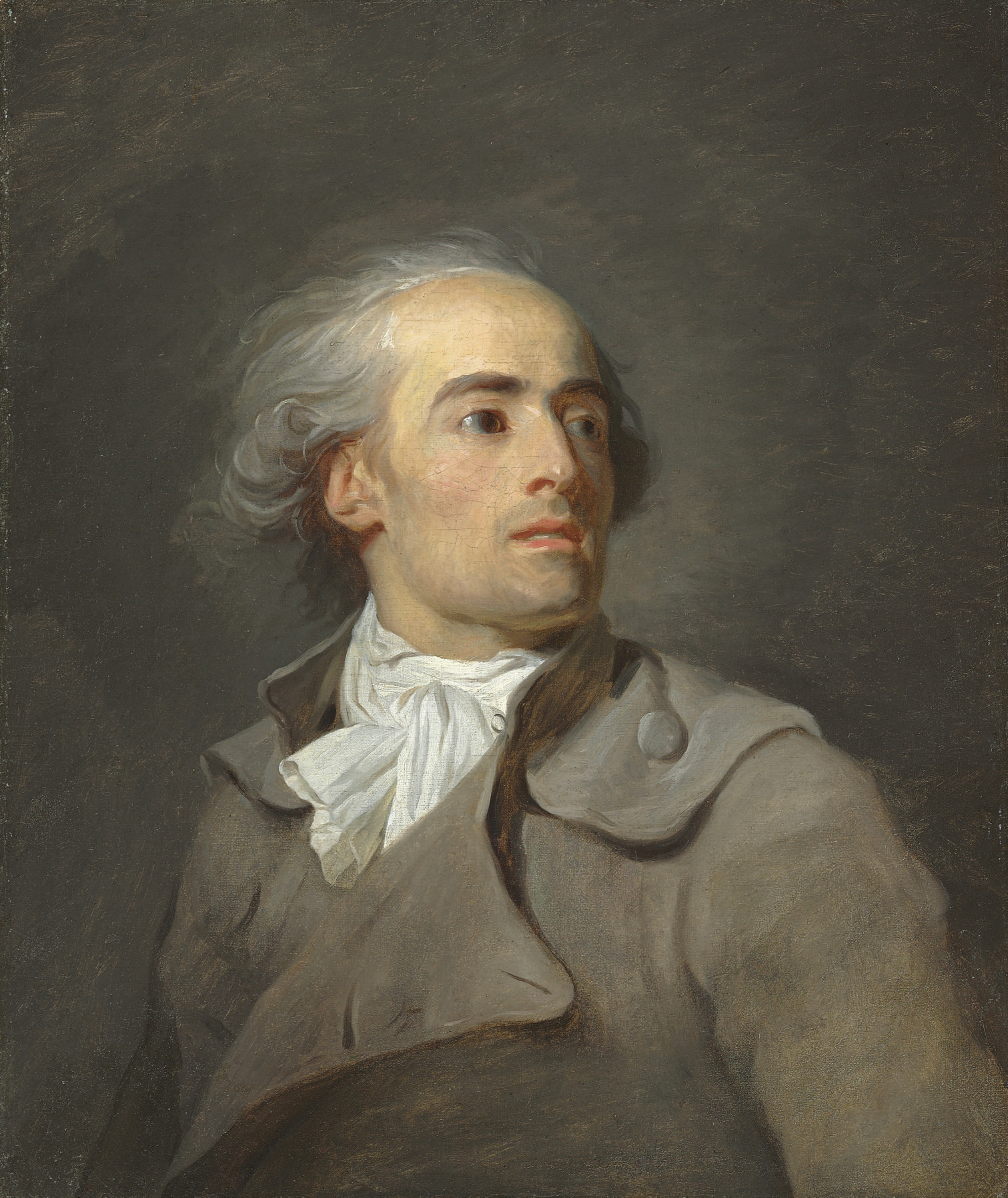 Portrait of a man, half-length, in a grey coat
