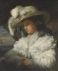 Portrait of a lady, half-length, in a white dress and plumed hat, a seascape beyond