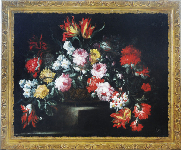 Still life with poppies, peonies and tulips in a basket