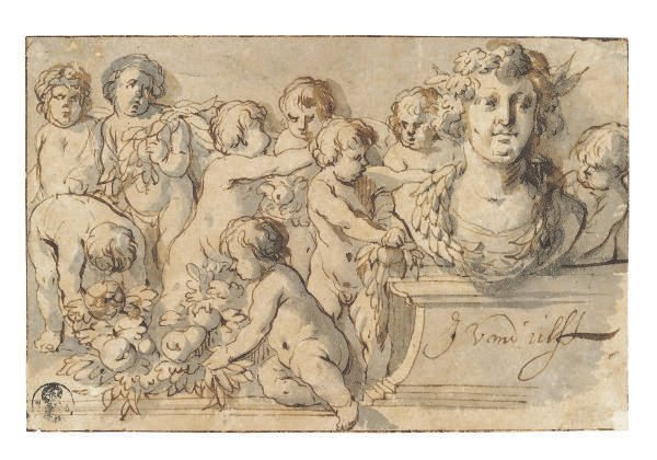 Putti decorating a portrait bust on a plinth with garland