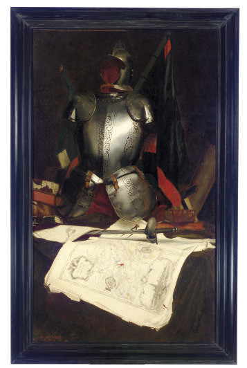Still Life with armor and a map of the Alsace