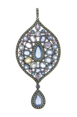 A DIAMOND, MULTI-COLORED SAPPH