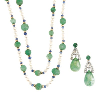 A GROUP OF EMERALD, SAPPHIRE,