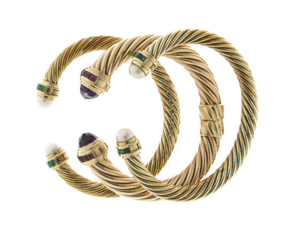 A GROUP OF MULTI-GEM AND 14K GOLD BRACELETS, BY DAVID YURMAN