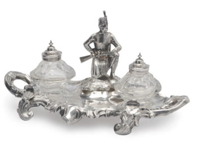 AN ENGLISH SILVER-PLATED INKST