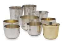 A GROUP OF TEN ENGLISH AND CONTINENTAL SILVER BEAKER CUPS,