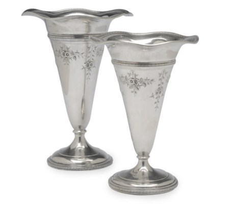 TWO AMERICAN SILVER TRUMPET-FO