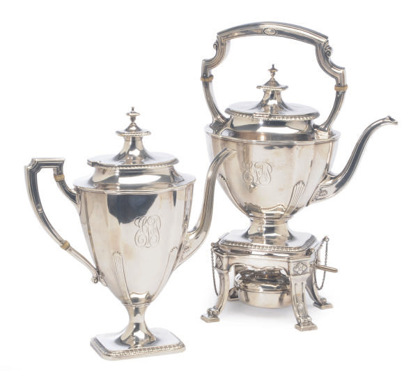 AN AMERICAN SILVER SIX-PIECE TEA SERVICE,**