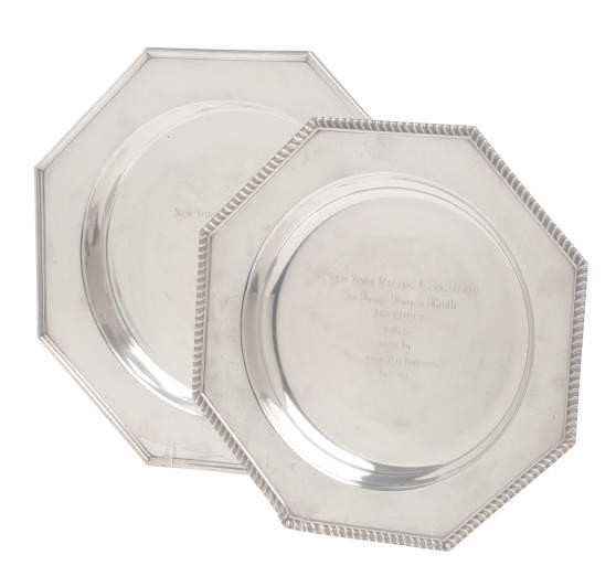 TWO AMERICAN SILVER OCTAGONAL