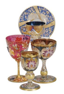 A BOHEMIAN ENAMELED GLASS PART