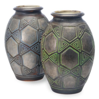 A PAIR OF FRENCH EARTHENWARE V