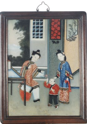 TWO FRAMED CHINESE REVERSE PAI