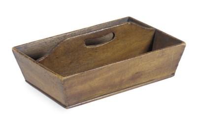 A WALNUT CUTLERY BOX,