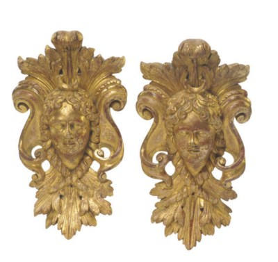 A PAIR OF FRENCH GILTWOOD MASK