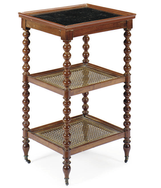 A FRENCH MAHOGANY, CANED AND F