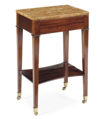 A MAHOGANY AND MARBLE-TOP SIDE