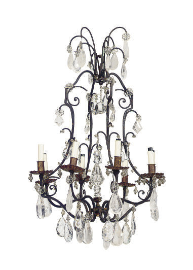 A WROUGHT IRON, ROCK CRYSTAL A