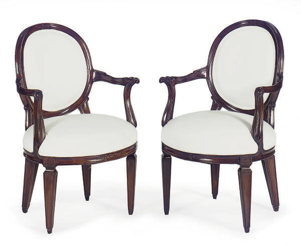 A PAIR OF STAINED MAHOGANY OPE