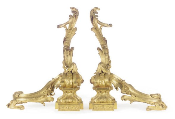 A PAIR OF ORMOLU CHENETS,