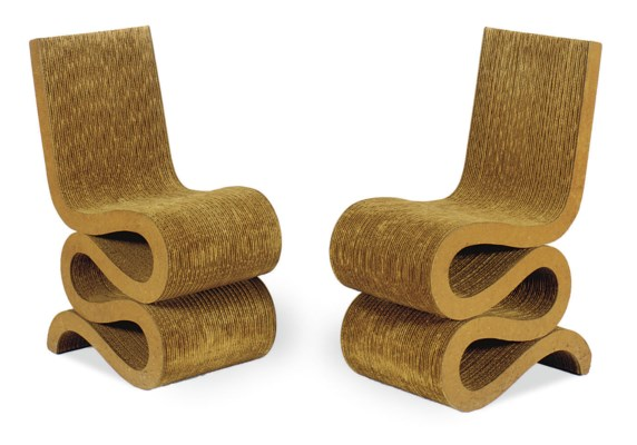 A PAIR OF CORRUGATED CARDBOARD