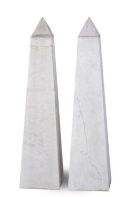 A PAIR OF WHITE AND GREY MARBL